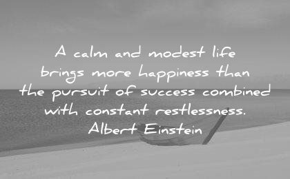 albert einstein quotes calm modest life brings more happiness than pursuit success combined with constant restlessness wisdom
