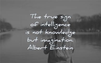 albert einstein quotes true sign intelligence knowledge imagination wisdom woman water