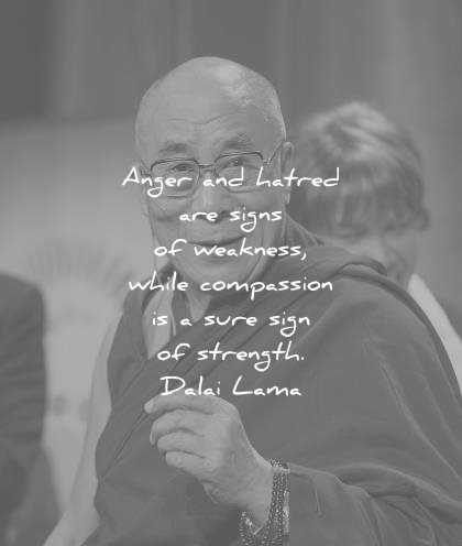 dalai lama quotes anger hatred signs weakness while compassion sure sign strength wisdom