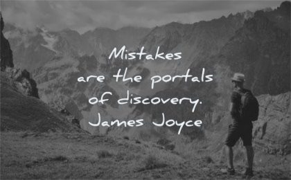 failure quotes mistakes portals discovery james joyce wisdom man hiking