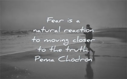 fear quotes natural reaction moving closer truth pema chodron wisdom man beach water sea