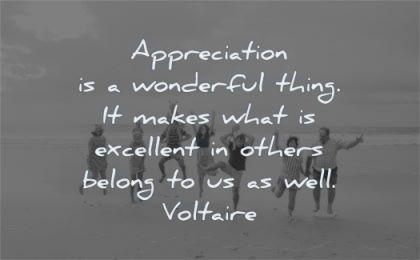 gratitude quotes appreciation wonderful thing makes what excellent others belong well voltaire wisdom group people jump beach