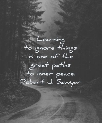 inner peace quotes learning ignore things one great paths robert j sawyer wisdom road rain nature trees