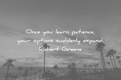 learning quotes learn patience your options suddenly expand robert greene wisdom