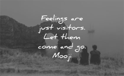 letting go quotes feelings just visitors let them come mooji wisdom nature sea rocks