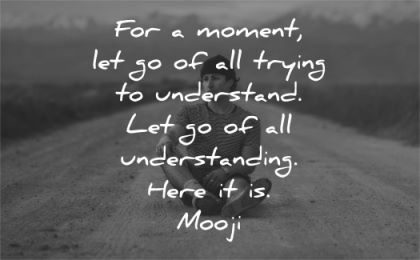 letting go quotes moment trying understand understanding mooji wisdom man sitting path