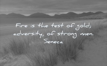 quotes about being strong fire test gold adversity man seneca wisdom nature mountains landscape
