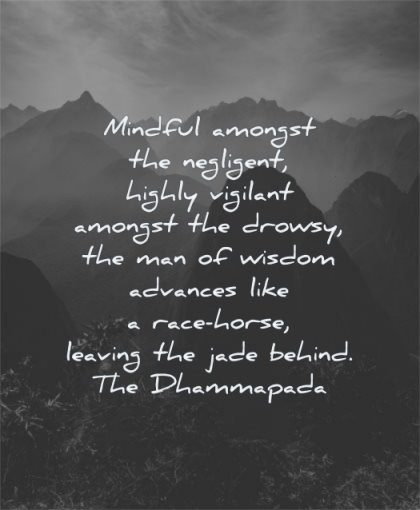 responsibility quotes mindful amongst negligent highly vigilant drowsy man advances dhammapada wisdom nature mountains