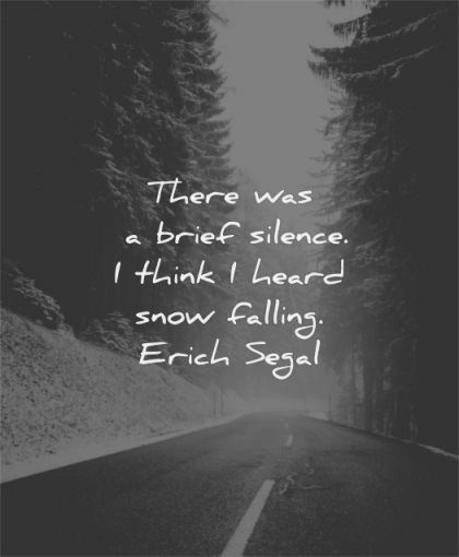 silence quotes brief silence think heard snow falling erich segal wisdom road winter trees