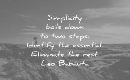 simplicity quotes boils down two steps identify essential eliminate rest leo babauta wisdom