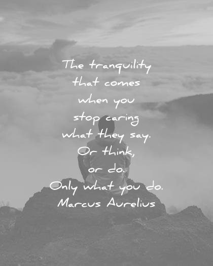stoic quotes tranquility comes when you stop caring they say think only what marcus aurelius wisdom